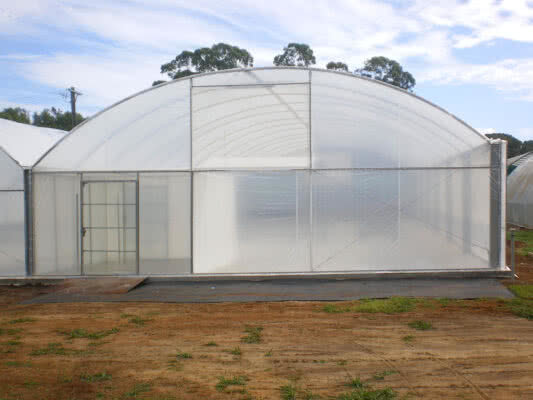 GreenLife Structures commercial habitat greenhouse with biosecurity entry