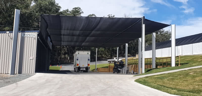 GreenLife Structures' asset protection truck bay shade sail